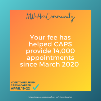 Your fee has helped CAPS provide 14,000 appointments since March 2020